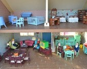 1950's Keystone Vintage Fully Furnished Fall-Themed Dollhouse - Original Renwal Family and All Accessories