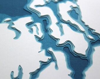 Puget Sound - original 8 x 10 papercut art