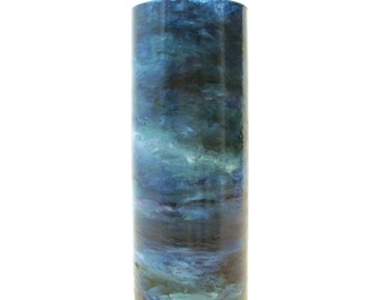 Hand Painted Landscape Glass Vase- Evening on the Lake- Modern Impressionist Art