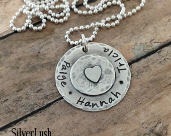 Rustic Hand Stamped Sterling Silver Mother's Necklace with up to three names