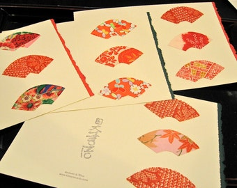 Kimono silk Japanese  greeting cards - set of 10 - various designs