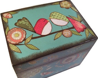 Tea Box, Decoupage Wooden Tea Box, Tea Storage Box, Tea Bag Storage Box, Decorative Tea Box, Kitchen Box, Kitchen Organizer, MADE TO ORDER
