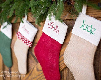 CHRISTMAS in JULY SALE!!! One Burlap Christmas Stocking - Pick your style - Free monogramming