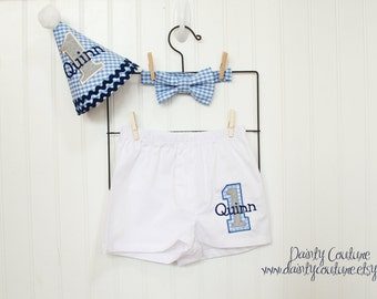 Boy 1st Birthday Outfit - Hat, bow tie, boxer shorts - Blue gingham, navy, white