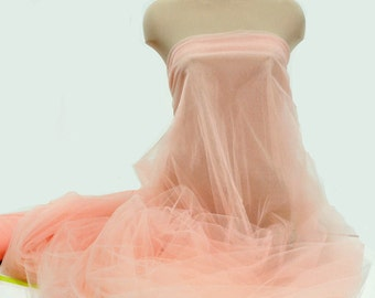 "Tulle Illusion Netting Peach 108"" wide..wedding...tutu's..crafts...bridesmaid...flower girl..formal wear"
