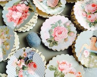 Rustic wedding decor, Paper garland, Romantic wedding, dusty blue, dusty pink, wedding garland, bridal shower decor, Circle garland, bird