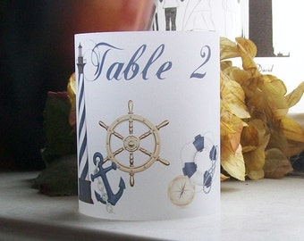 Nautical Vellum Table Number Luminarie - Wedding Signs - Luminary - Luminaria - Lantern - Lighthouse - Anchor - HALF SIZE