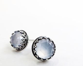 Blue Chalcedony earrings, Sterling Silver, pale blue gemstones, Stud earrings, Crown setting