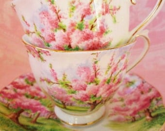 """SALE...Vintage Royal Albert  """"Blossom Time""""  Fine China Tea Cups and Saucers Set..A perfect gift anytime!!"""
