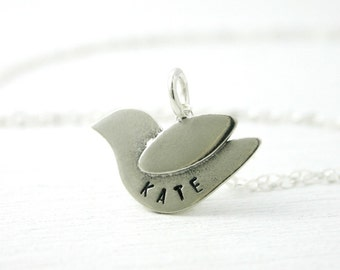 Little bird name necklace. Mothers necklace with baby name. Personalized jewelry. Gift for new mom. Sterling silver. Gift for her, new baby