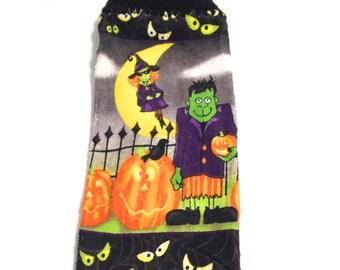 Frankenstein Hand Towel With Black Crocheted Top