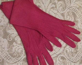 Vintage Ladies Gloves - Mid Length Cranberry Rayon by VanRaalte