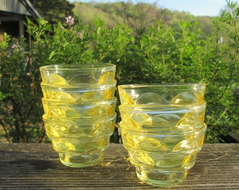 Seven Vintage Yellow Glass Berry Bowls/ Candle Lights