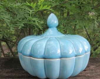 Vintage Candy Dish - Blue Glazed Ceramic - 1970