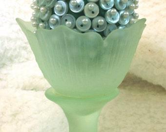 Green Button Easter Egg Green Tulip Vase