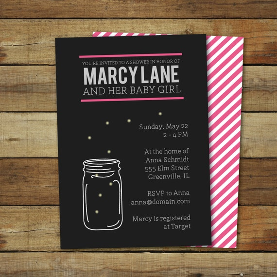 Fireflies Baby Shower Invitation, printable baby shower invite, mason jar baby shower, summer baby shower, front and back