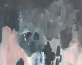 original abstract painting on paper, storm and hope