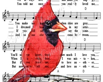 You Are My Sunshine Red Cardinal Bird  Lovely Gift Art Print  8x10, 5x7, 4x6 F R E E  Shipping + bookmark and tag 4 gifting!