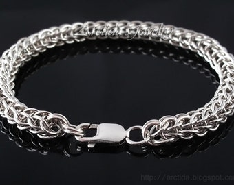 Men bracelet Full Persian chainmaille sterling silver bracelet - Mens jewelry men fashion southwestern sexy masculine male bracelets for men