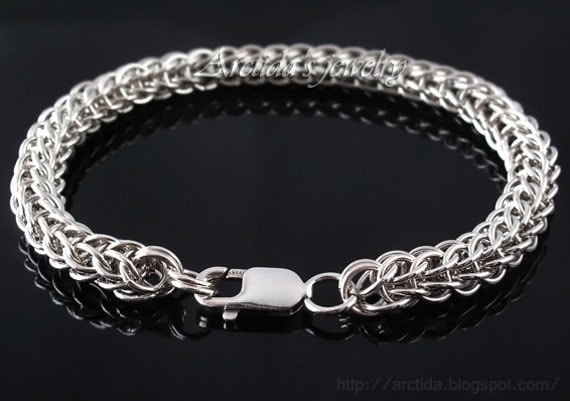 Men Bracelet Full Persian Chainmaille Sterling Silver Bracelet