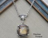 Golden Eyes, Vintage German Glass Button Necklace