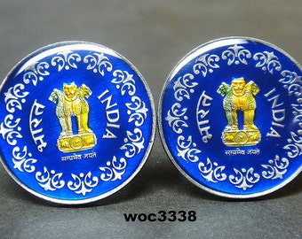 India coin cufflinks 50 paise 24mm