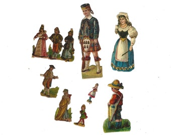 Vintage German Die Cut Paper Scrap Mixed Lot Set of 10 Pieces Late 1800s