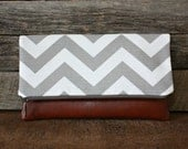Gray and White Chevron Foldover Clutch / Kindle Case