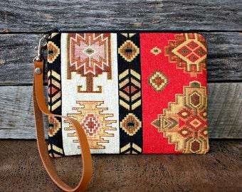 Ethnic Tribal Style Upholstery Wristlet / Aztec Navajo Clutch