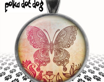 Flutter By -- Bohemian Style Butterfly Large Glass-Covered Pendant