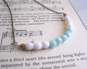 Pastel Sea Foam Blue beaded necklace row - facetted glass beads on bronze - modern springtime