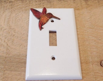Switchplate cover / plastic / copper enameled hummingbird single toogle Lightswitch cover