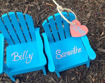TM The Original Personalized Set of 2 with hearts Cake Topper Mini Adirondack Chair Decor Beach Lake Rustic Wedding Personalized  Any Color