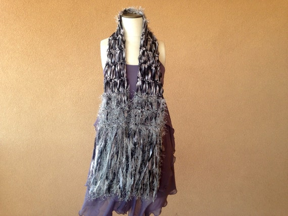 silver and black scarf silver scarf silver by