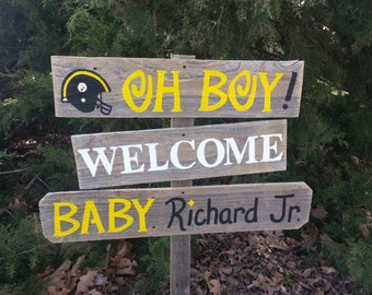 Steelers Baby Yard Sign Football Theme Baby Shower Sign Pittsburgh Steelers Decorations Its a Boy Sign Baby Maternity Sign Wooden Signs