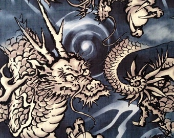 Hokkoh Magestic Dragons in blue and gray Japanese dobby cotton fabric 6B