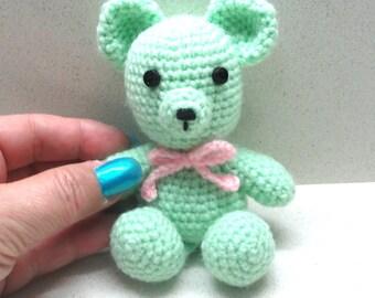 Amigurumi toy bear small crocheted teal green bear, crocheted toy, amigurumi doll  pets lovers kids baby