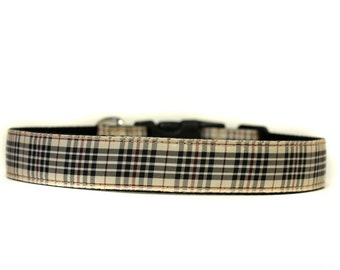 1 Inch Wide Dog Collar with Adjustable Buckle or Martingale in Blackberry Tartan