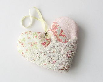 Heart lavender sachet, hanging scented heart sachet, pink patchwork sachet, love note sachet, Valentine's Day gift, wedding proposal idea