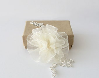 Wedding bracelet, organza flower bracelet, ruffled flower jewelry, bridesmaid gift, botanical bracelet