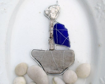 Driftwood Seaglass and Coral Boat Suncatcher Ornament