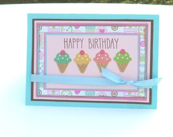 Birthday Card, Pink and Baby Blue with Ice Cream Cones, Happy Birthday, 5x7 Card