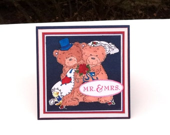 Wedding Card, Mr. and Mrs Wedding Couple Card, Bear Wedding Card, Bear Wedding Couple, Congrats, Red White and Blue Wedding Card