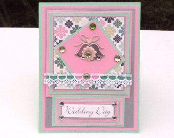 Wedding Greeting Card, Pink and Mint Green, Wedding Bells Card, Wedding Day Card, Congratulations Card