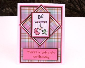 Baby Girl Card, Newborn Card, Baby Shower, Plaid, Pink, Brown, Mobile, There's a Baby Girl on the Way