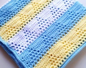 Sale Moden Crochet Triangle Baby Blanket Light Blue, Lemon and White
