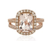 Diamond Alternative Engagement Ring, Diamond Alternative Wedding Band, Morganite Engagement Ring, White Sapphire Wedding Band - LS3111