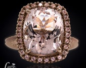 Rectangular Cushion Cut Morganite Engagement Ring with Sapphire and Diamond Halo Band - Payment Plan Link for nmartinez53133 - 10th Payment