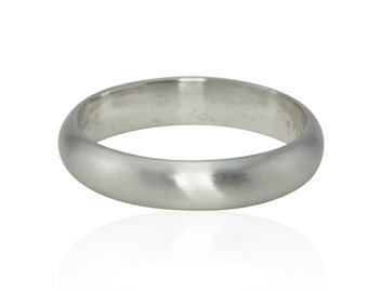 White Gold Man's Ring, Handmade Wedding Band - Brushed Finish Ring - Available in Rose Gold Ring, Yellow Gold Ring, Other Finishes - LS260