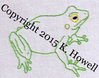 Frog Hand Embroidery Pattern